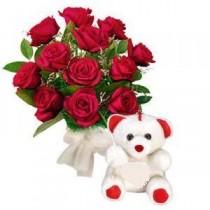 Buchet cu 11 Trandafiri rosii si Jucarie