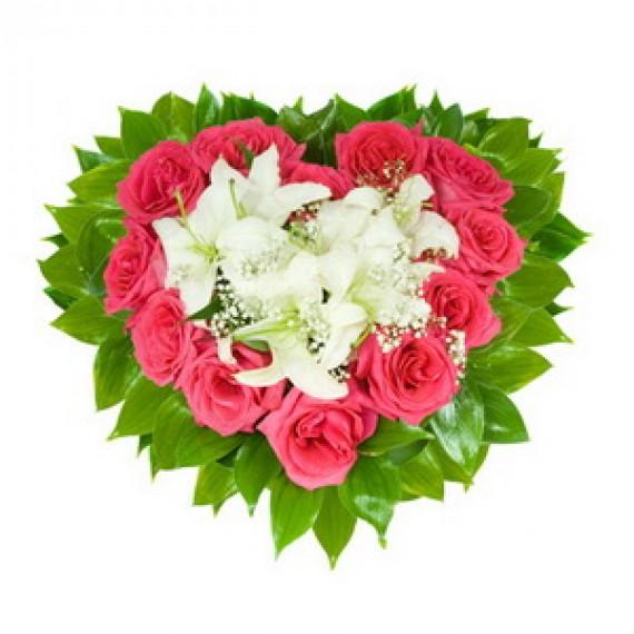 Inima din Trandafiri Roz si Crini