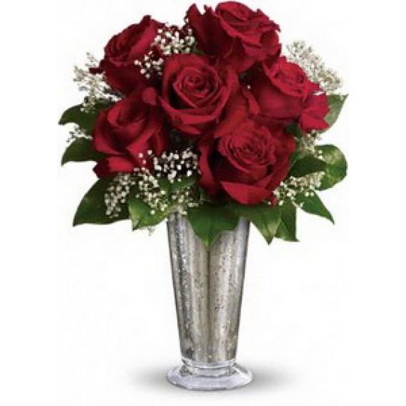 Vaza si Buchet cu 7 Trandafiri Rosii