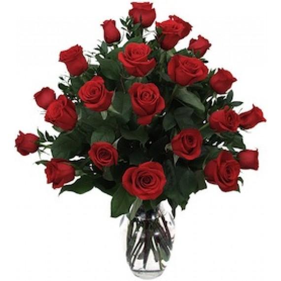 21 trandafiri rosii in vaza